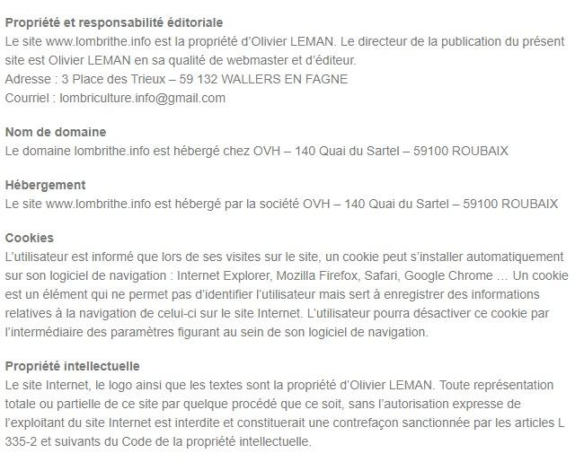 Mentions Légales du Site Lombrithé.Info